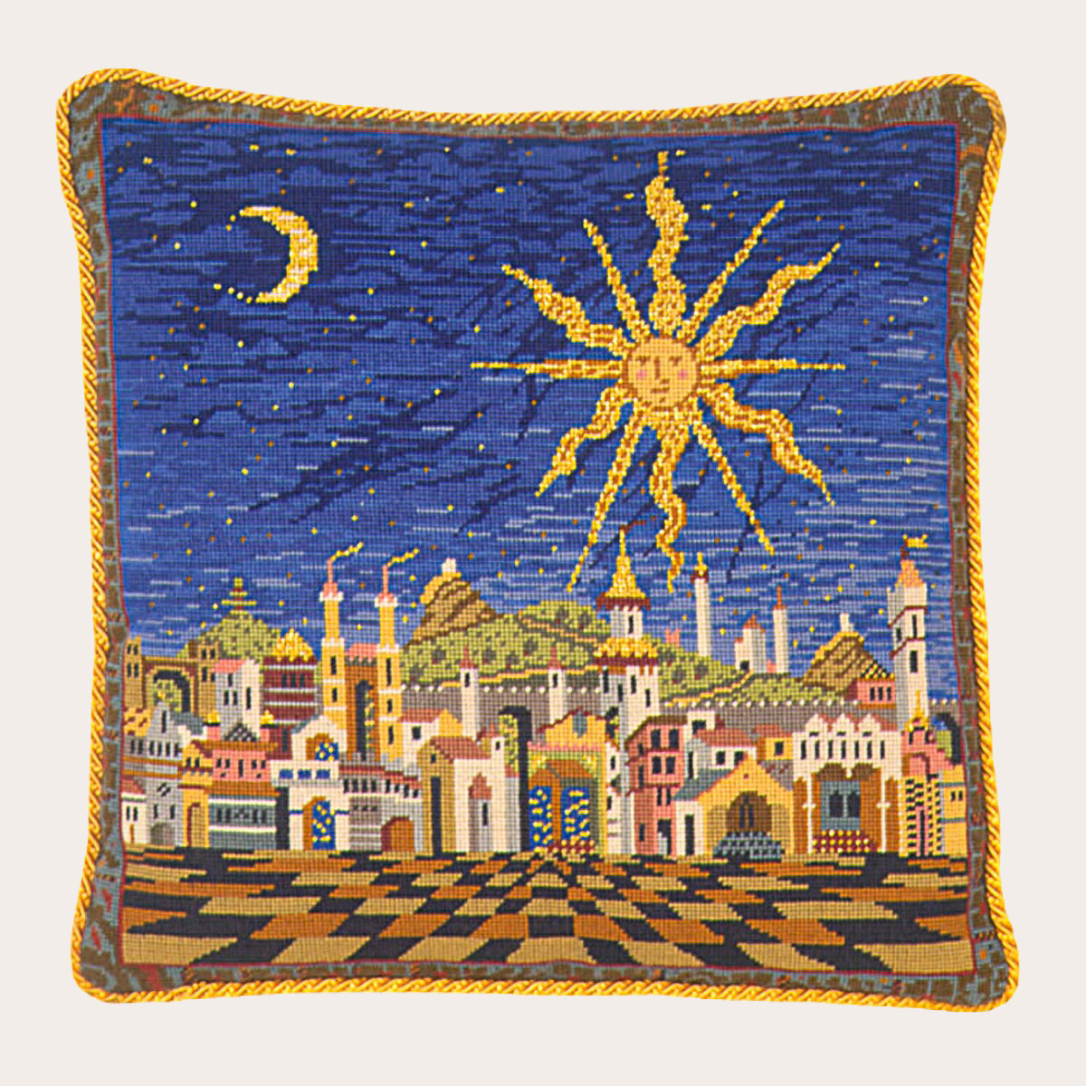 Collection Dart Stamped Needlepoint Cushion Kit 40x40cm-night Jungle Iv